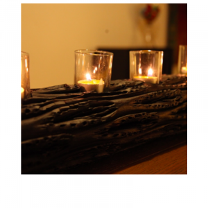 Wooden Log Candle Stand