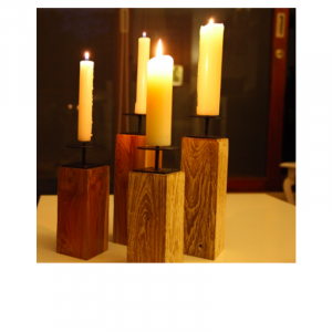 Wooden Natural Candle Stand