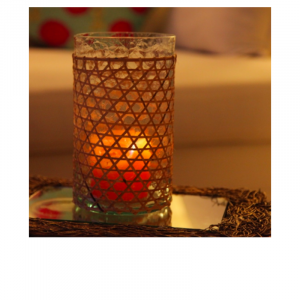 Bamboo Stripe With Glass Candle Stand 6
