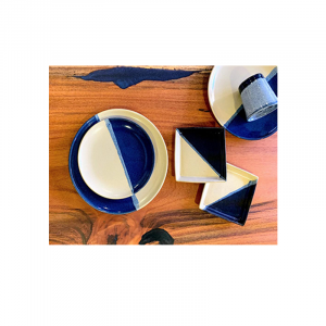 Half Blue White Ceramic Plate  1
