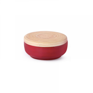 Bamboo Bowl With Lid Red
