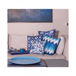 Indigo Stripe Cushion 16×16