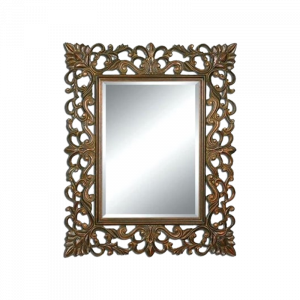 Wooden Frame Curved Mirror