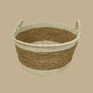 Cane Baskets Round White/Beige