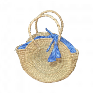 Round Woven Bag with Cloth Lining