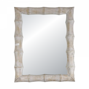 White Wash Bamboo Frame Mirror