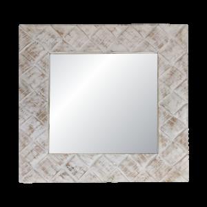 White Wash Wooden Frame Mirror
