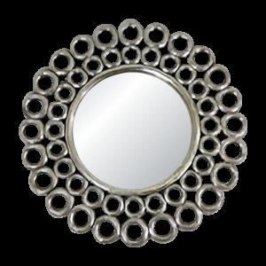 Round Wooden Circle Mirror Silver