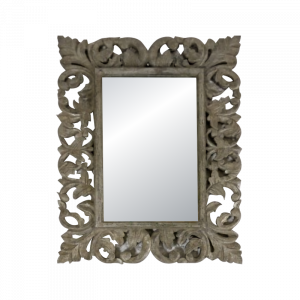 Wooden Silver Coated Leaf Frame Mirror