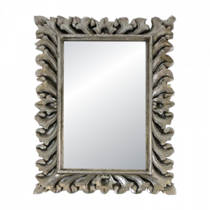 Wooden Silver Coated Curved Frame Mirror