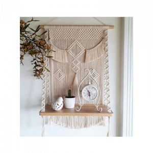Handmade Macrame  Wall Hanging Stoarge Shelf Boho