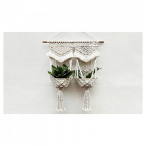 Macrame Wall Hanging Double Plant Holder