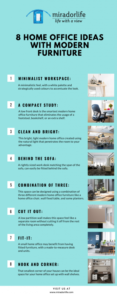 8 home office ideas with modern furniture Infographics